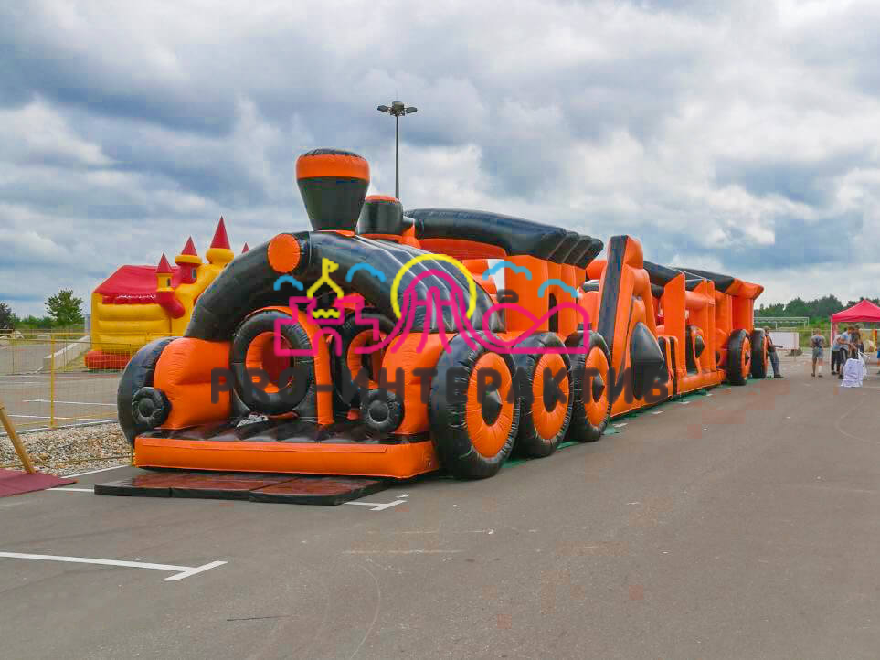 Надувная полоса препятствий паровоз чёрно оранжевый