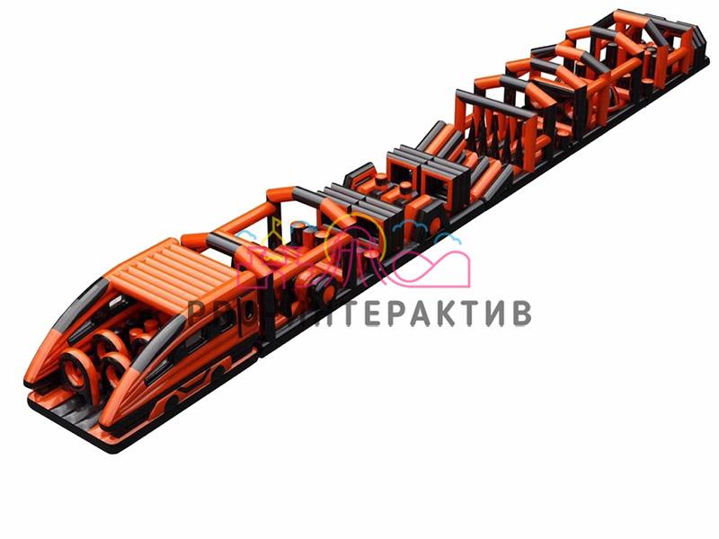 Надувная полоса препятствий поезд сапсан чёрно оранжевый